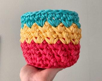 Crochet Bowl - Chunky Statement Basket - Recycled Tshirt Yarn - Eco Friendly Storage - Boho Fabric container