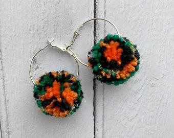 Halloween Pompom Hoop Earrings