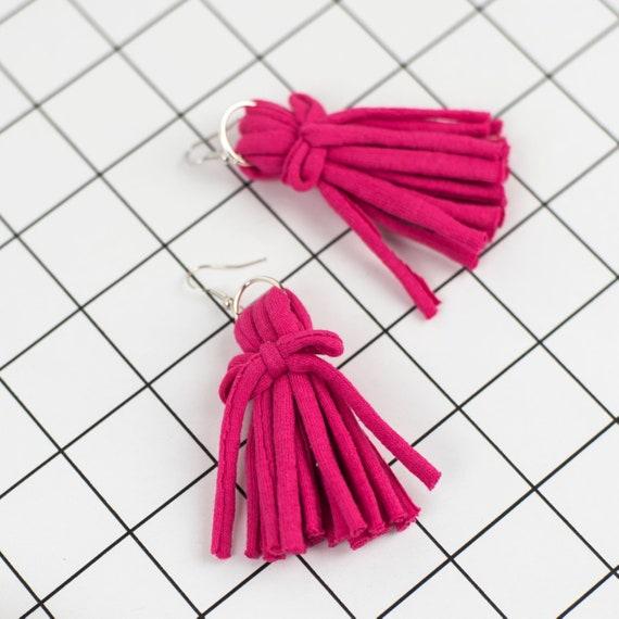 Tassel Fabric Earrings - Chunky Statement Jewellery - Recycled Tshirt Yarn - Eco Friendly Jewellery - Boho Fabric Earrings - Alternative