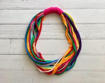Rainbow Infinity Necklace - Chunky Statement Jewellery - Recycled Tshirt Yarn - Eco Friendly Jewellery - Boho Fabric Necklace