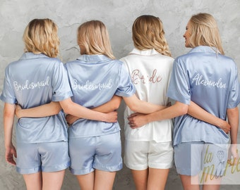 personalised gift PJ set for wedding hospital gown wedding shorts bridesmaid shirt Gift for women maternity shirt bridesmaid gift