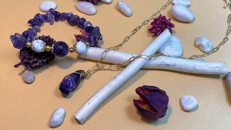 Amethyst crystal necklace Collana artigianale in ametista e filo di rame