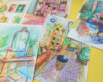 Interior Postcards   Set of 5   Sketchbook Postcards   Illustrated Postcards   Postcard Prints   Art Gifts   Sketchbook Prints