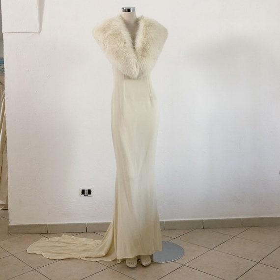 Vintage Gai Mattiolo wedding dress with fox fur co
