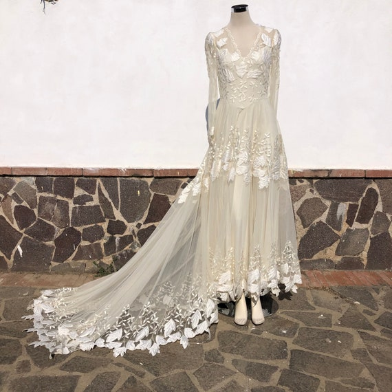 Long sleeve lace Wedding dress, lace bride dress,