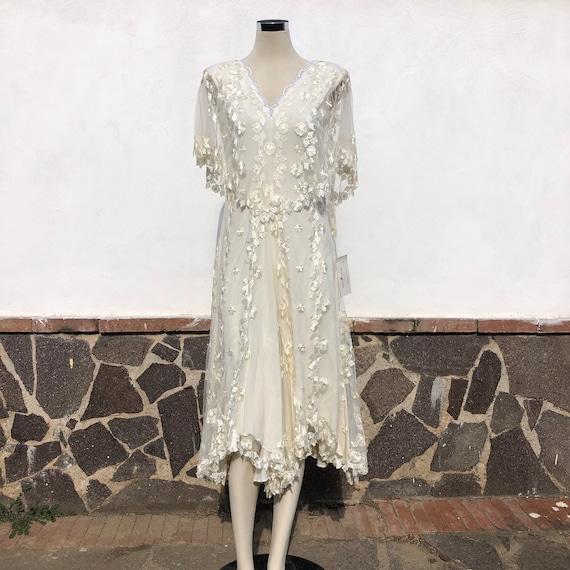 Short ivory lace Wedding dress, linee lenght Weddi