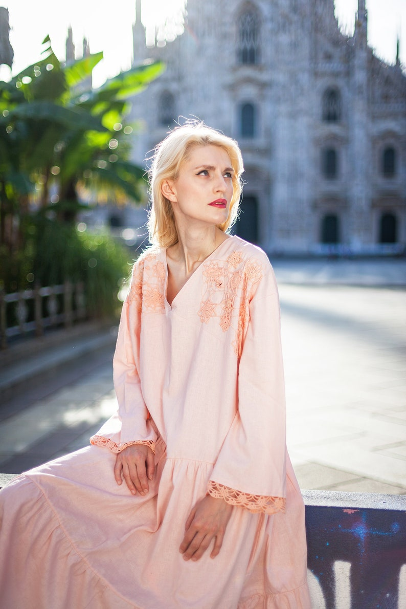 dress cotone dress one size rosa abito vestito estivo knitted dress cotton dress rosa antica Linen dress boho dress vestito rosa