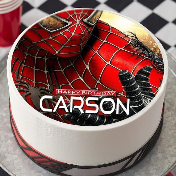 Marvelous Spiderman Image Edible Cake Topper Birthday Cake Topper Etsy Funny Birthday Cards Online Unhofree Goldxyz