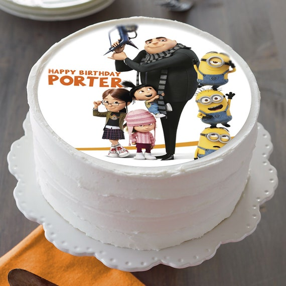 Fine Minions Party Despicable Me 1 4 Or1 2 Sheet Edible Cake Topper Personalised Birthday Cards Cominlily Jamesorg