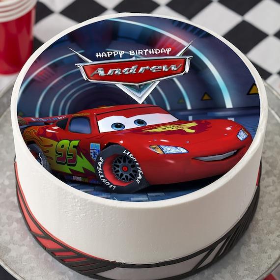 Terrific Cars Lightning Mcqueen Edible Cake Topper Birthday Cake Etsy Funny Birthday Cards Online Ioscodamsfinfo