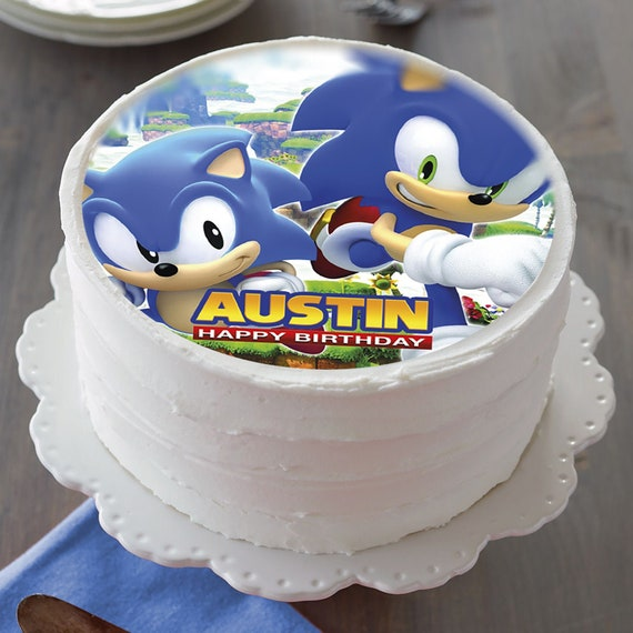 Sonic The Hedgehog Edible Cake Topper Party Image Birthday Etsy