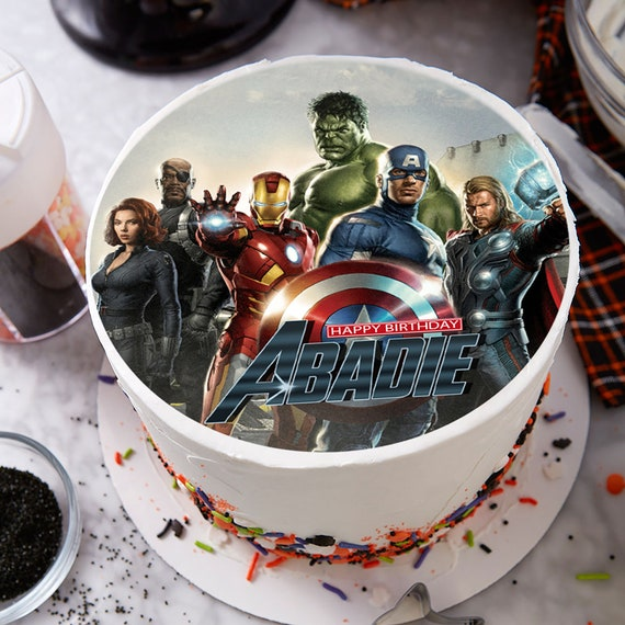 Pleasant The Avengers Image Edible Cake Topper Party Decoration Etsy Funny Birthday Cards Online Unhofree Goldxyz