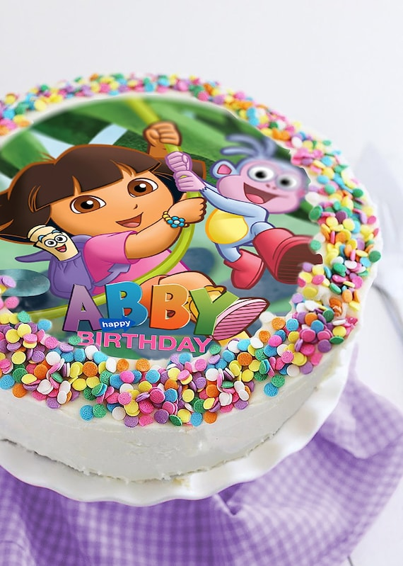 Pleasant Dora The Explorer Edible Cake Topper Party Decoration Etsy Personalised Birthday Cards Veneteletsinfo