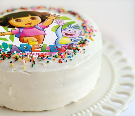 Cool Dora The Explorer Edible Cake Topper Party Birthday Cake Etsy Personalised Birthday Cards Veneteletsinfo