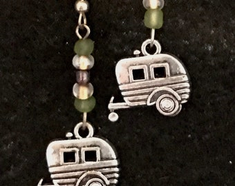Vintage Travel Trailers Drop Earrings with green and bronze glass beads