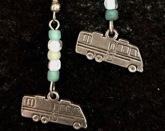 Motorhome  Drop Earrings with Aqua Seaglass Colored Beads