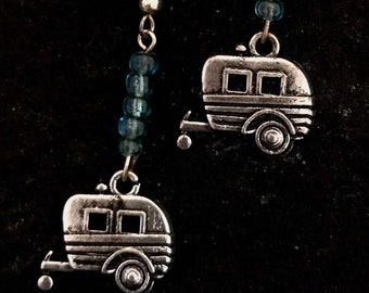 Vintage Travel Trailer Drop Earrings with light blue glass beads