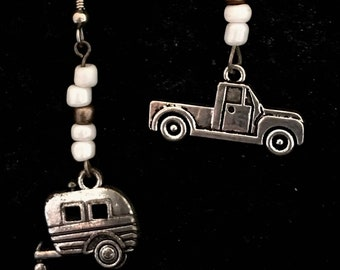 Vintage Travel Trailer and Truck Drop Earrings with pearl white and bronze glass beads