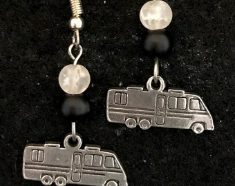 Motorhome drop earrings with black and clear round glass beads