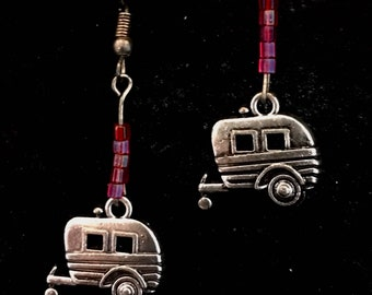 Vintage Travel Trailer Drop Earrings with Red Glass Beads