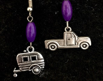 Vintage camper and truck drop earrings with purple stones