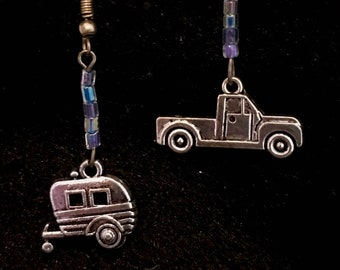 Vintage camper and truck drop Earrings with blue/purple glass beads