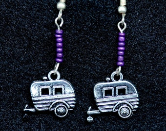 Vintage Travel Trailer Drop Earrings with purple glass beads