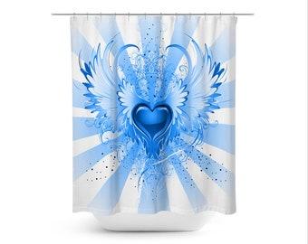 Fantasy Art Shower Curtain Mystic Contemporary Bathroom Decor Modern Boho Blue Angel Winged Heart