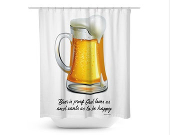Beer Art Shower Curtain Contemporary Bathroom Decor Masculine Boho Man Cave Glass