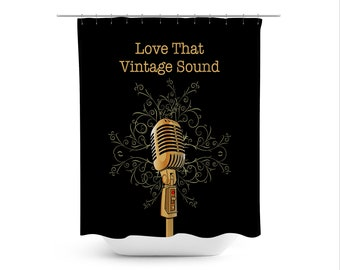 Rock Music Art Shower Curtain Contemporary Bathroom Decor Microphone Modern Boho Vintage Sound