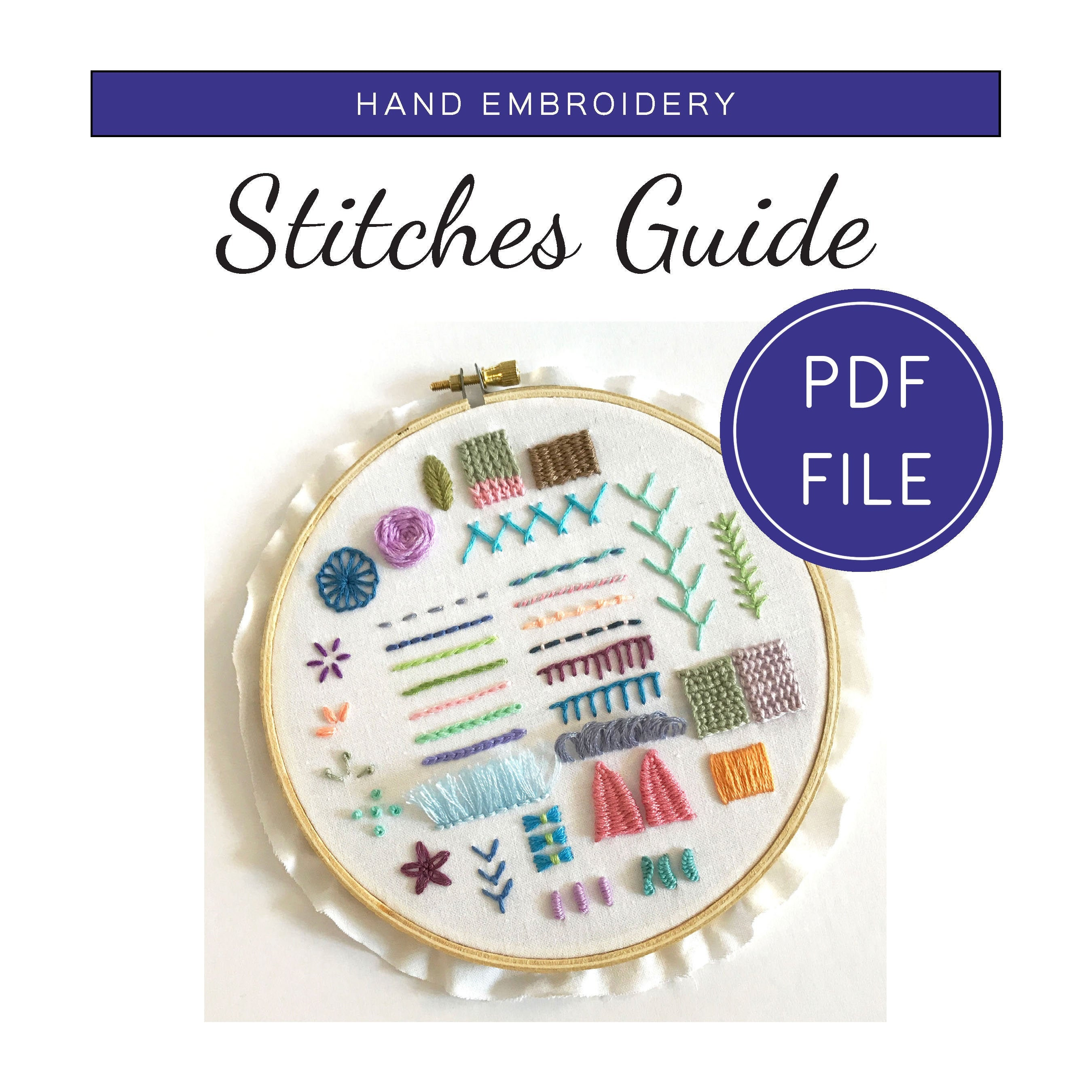 Hand Embroidery Stitches Guide PDF Download, How to Stitch Book DIY Guide,  Book Digital Download, Printable Hand Embroidery Pattern PDF