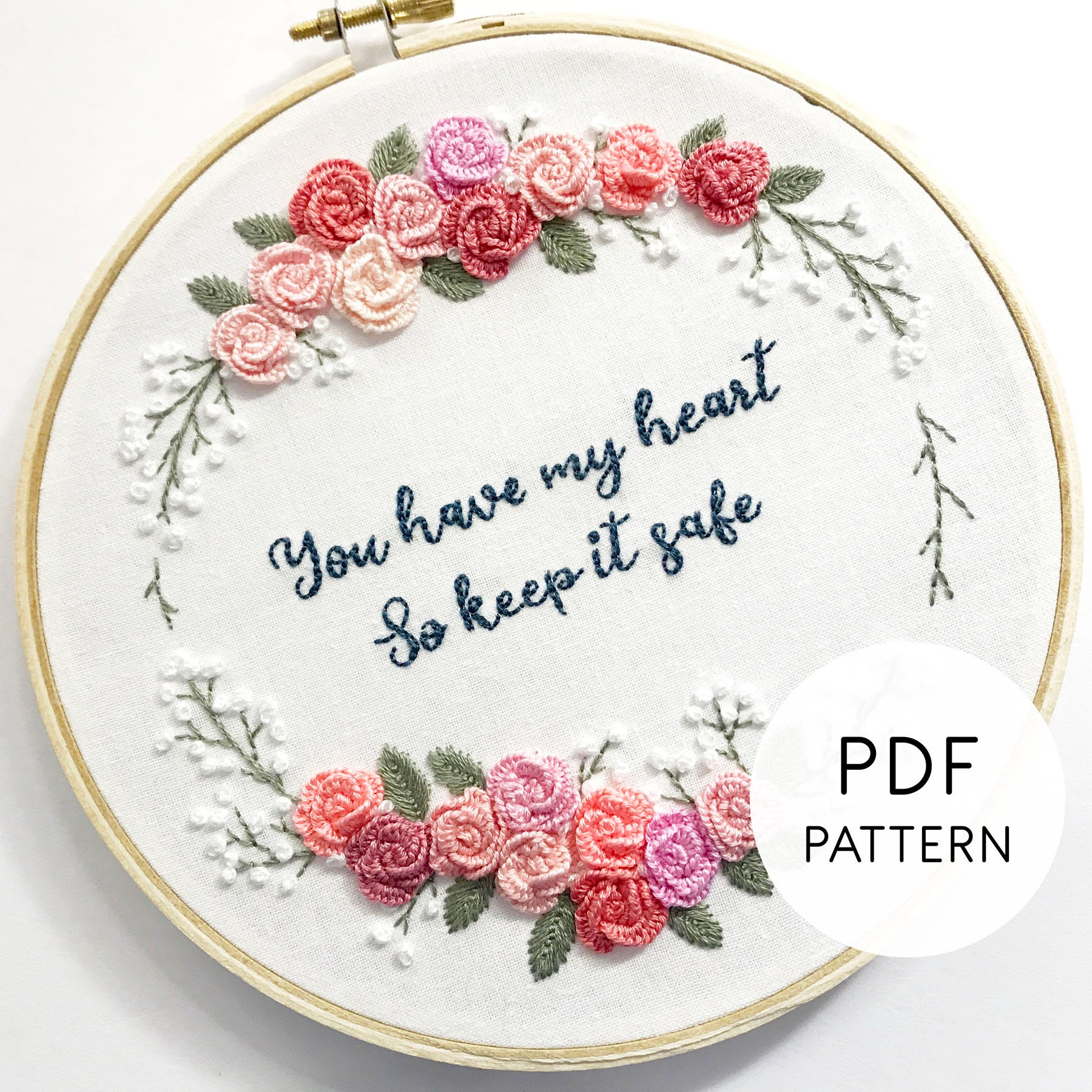 Hand Embroidery Pattern PDF Floral Embroidery Design,  Anniversary/Wedding/Valentines Pattern Rose Flower Wreath, Printable  Pattern Download