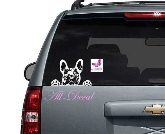 Peeking Bulldog Die Cut Vinyl Car Window Decal Bumper Sticker US Seller