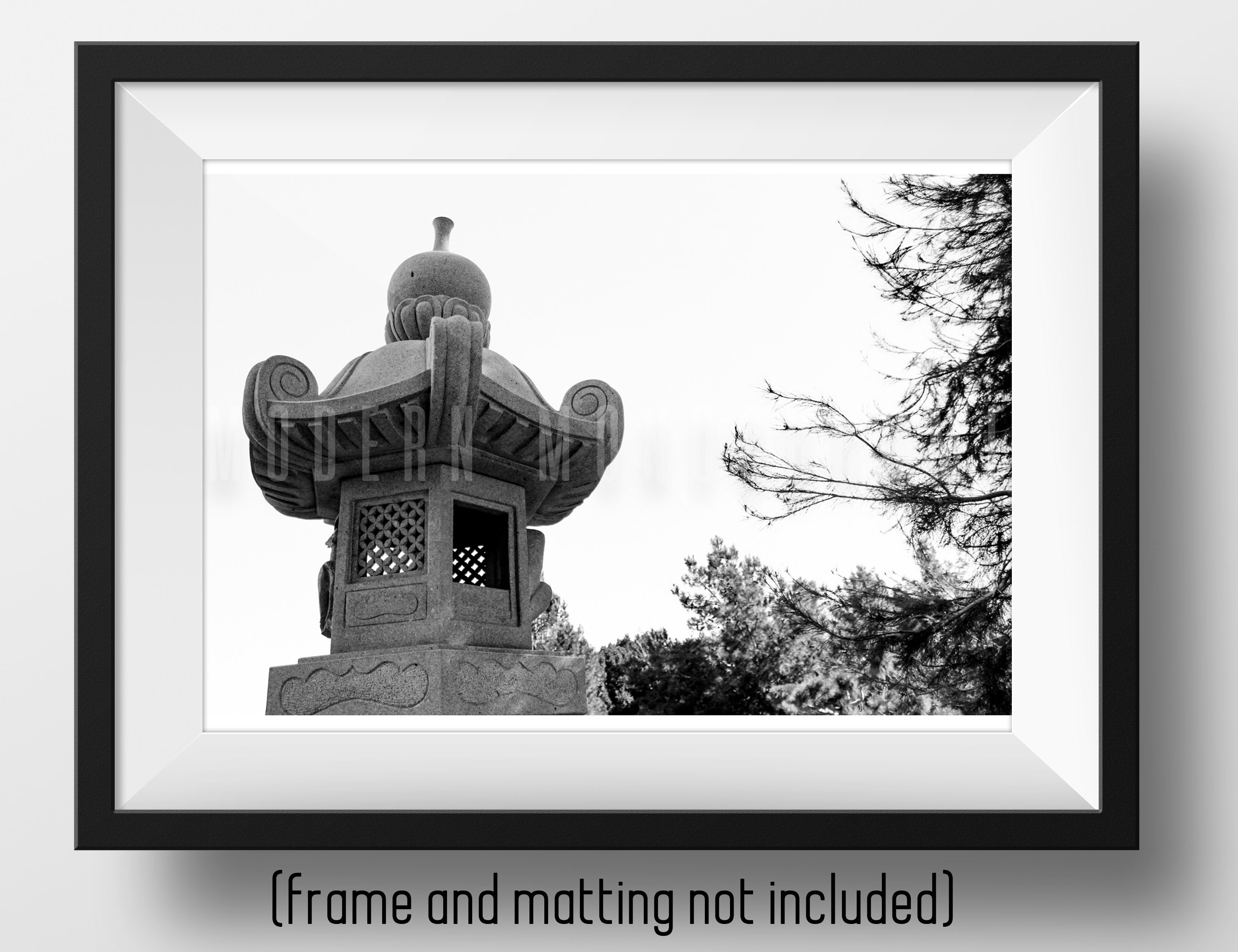 Fine art photo print japanese garden sculpture gallery quality archival black and white photography wall art 18x12 24x16 20x30