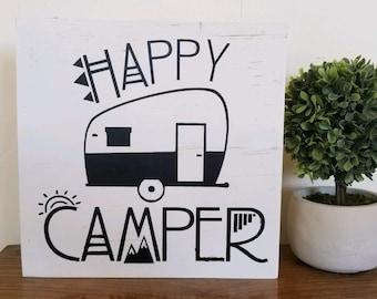 Happy camper sign, bohemian decor, wall art, ready to ship
