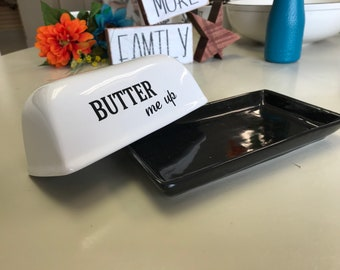 butter dish, farmhouse style