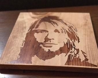Kurt Cobain, wood stained art