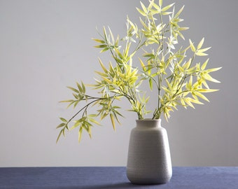 "Large light grey natural stone vase; 7"" matte"