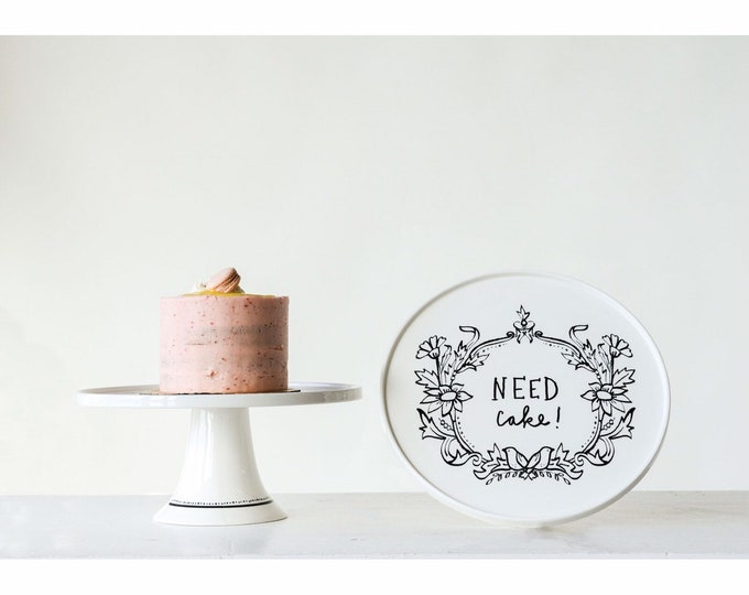 """Featured listing image: farmhouse kitchen decorative cake stand, """"need cake!"""""""