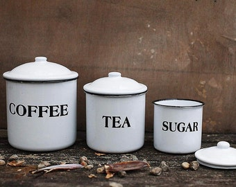 Enamel kitchen canister set, 3 pc, ready to ship