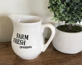 Farmhouse style fresh cream pitcher