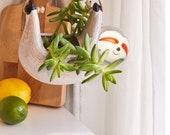 Hanging sloth planter, 8 succulent holder