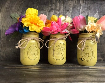 "Distressed mason jar vase, pint ""ball"" jar, mustard colored"
