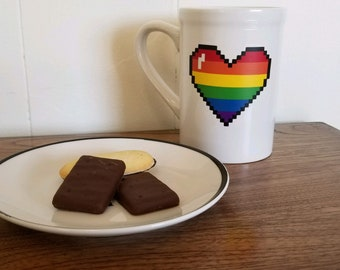 Rainbow heart mug, colorful coffe cup, 11oz, ready to ship