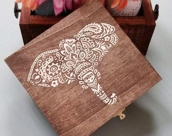 Wooden Keepsake box, memory box, henna inspired, elephant gift box, ready to ship