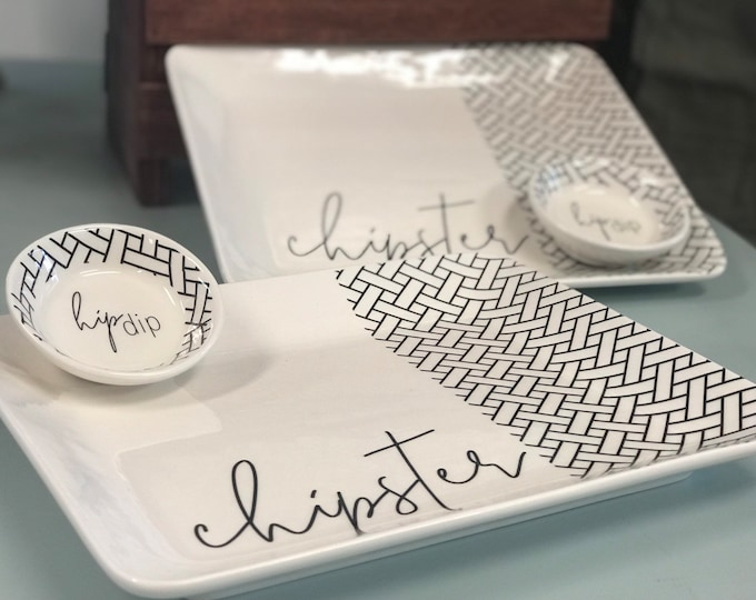 Featured listing image: Chip and dip platter set