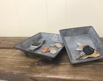 Galvanized metal storage tray