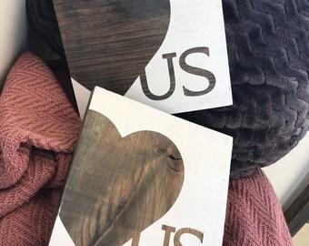 Heart US, love us rustic wood decor sign