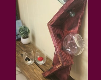 Wood wine rack , black cherry and copper