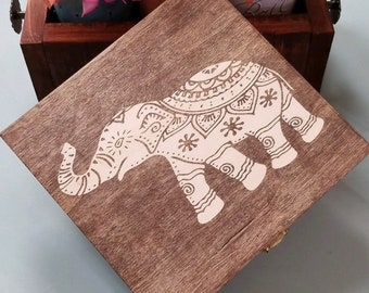 Wooden keepsake box , memory box , elephant gift box, ready to ship